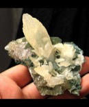 Amazing Glowing Calcite on Celadonite Cluster
