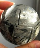 Breathtaking Large Black Tourmaline Included Rainbow Quartz Sphere