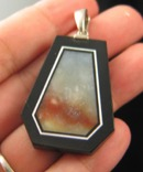 Sunset Blue Calcite Intarsia Pendant