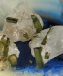 Green Tourmaline in Quartz trio