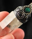 Quartz Pendant with Chrysacolla Accent