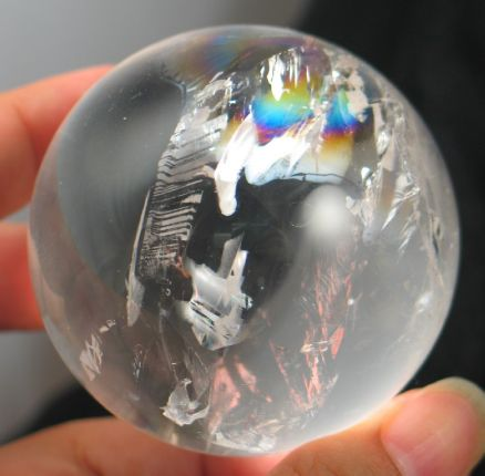 Bright Bubbly Rainbow Quartz Sphere :: Image is of piece for sale.