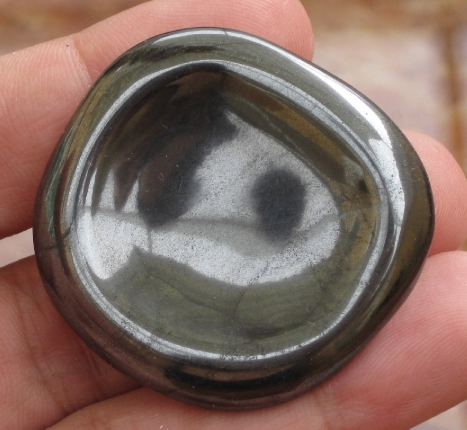 Protective Hematite Worry Stone :: Image is of piece for sale.