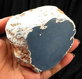 Natural Angelite Nodule w/ Cut and Polished End :: Image is of piece for sale.