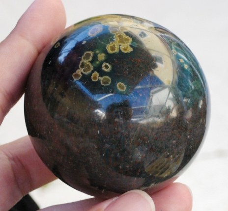 Deep Green Ocean Jasper Sphere :: Image is of piece for sale.