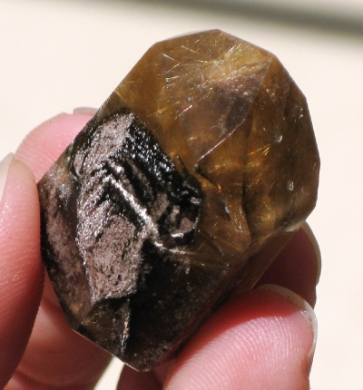 Dense Rutilated Quartz Point with Chlorite :: Image is of piece for sale.