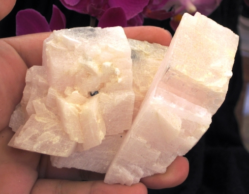 Strong Heart Mangano Calcite Cluster :: Image is of piece for sale.