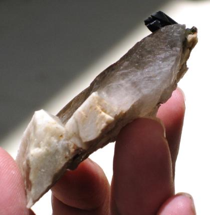 Smoky Quartz Tabby Crystal w/Aegerine and Feldspar :: Image is of piece for sale.