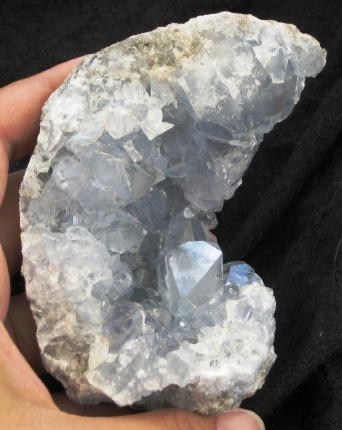 Divine Blue Celestite Crescent :: Image is of piece for sale.