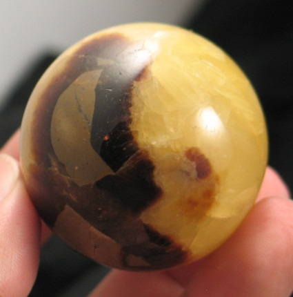 Golden Septarian Calcite Sphere :: Image is of piece for sale.