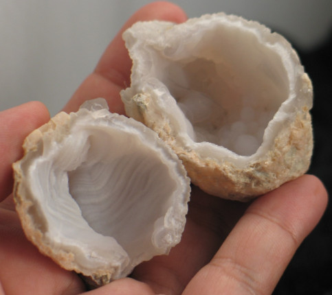 Soft Pink Chalcedony Geode Pair :: Image is of piece for sale.