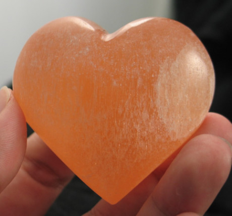 Orange Selenite Heart :: Image is of piece for sale.