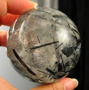 Breathtaking Large Black Tourmaline Included Rainbow Quartz Sphere  :: Image is of piece for sale.
