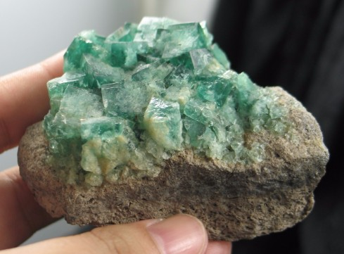 English Emerald Fluorite on Matrix :: Image is of piece for sale.