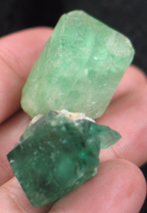 Emerald UK Fluorite Duo :: Image is of piece for sale.
