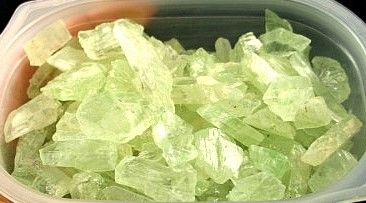 Pale Green Hiddenite Rough Crystals :: Image is of piece for sale.