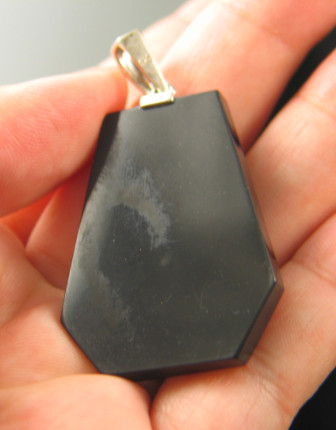 Sunset Blue Calcite Intarsia Pendant :: Image is of piece for sale.