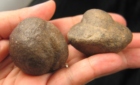 Shaman Stone Moqui Ball Pair :: Image is of piece for sale.