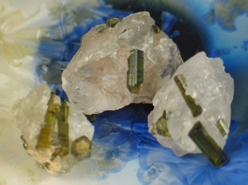 Green Tourmaline in Quartz trio :: Image is of piece for sale.
