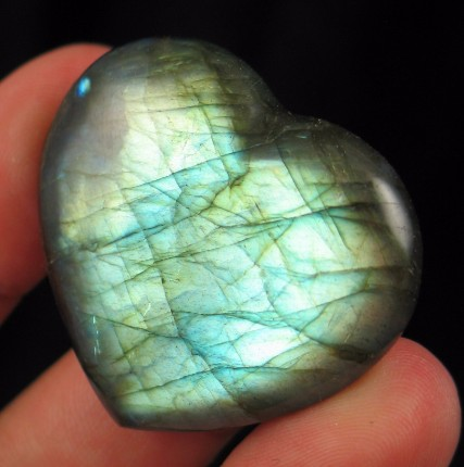 Blue Green Labradorite Heart :: Image is of piece for sale.