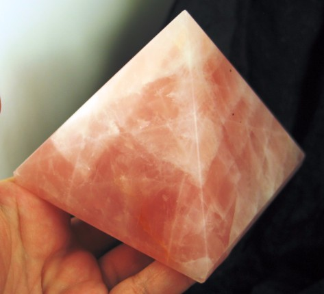 Large Rose Quartz Pyramid :: Image is of piece for sale.