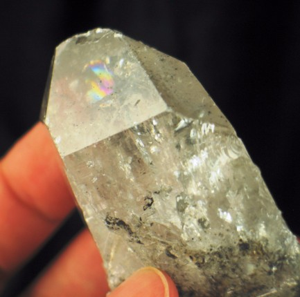 DT Carbon Included Rainbow Quartz Crystal :: Image is of piece for sale.
