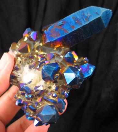 Brilliant Blue Titanium Flame Quartz Cluster :: Image is of piece for sale.