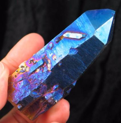 Indigo Titanium Flame Quartz Crystal :: Image is of piece for sale.