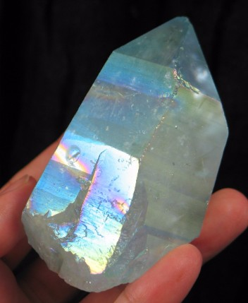 Large Aqua Titanium Flame Crystal :: Image is of piece for sale.