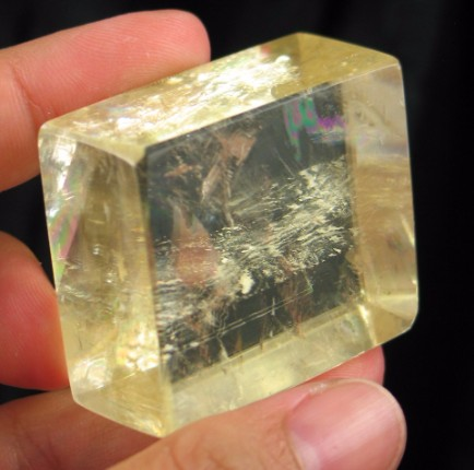 Polished Optical Rainbow Gold Calcite Rhomb :: Image is of piece for sale.