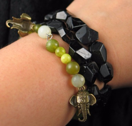 Chunky Polished Black Tourmaline Bracelet :: Image is of piece for sale.