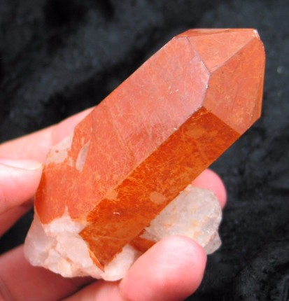 Large Red Tangerine Quartz Crystal :: Image is of piece for sale.