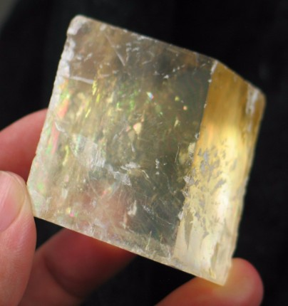 Golden Rainbows Calcite Rhomb :: Image is of piece for sale.
