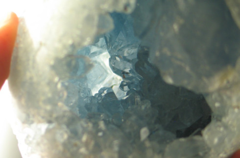 Large Glittering Blue Celestite Egg :: Image is of piece for sale.