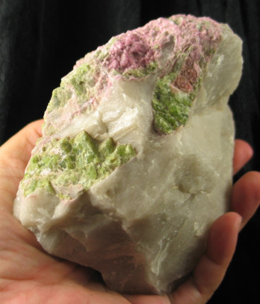 Celadon & Pink Tourmaline in Quartz :: Image is of piece for sale.