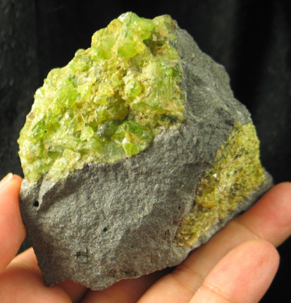 Peridot in Basalt Matrix :: Image is of piece for sale.