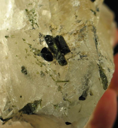 Large Green Tourmaline Included Cathedral Quartz Crystal :: Image is of piece for sale.