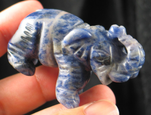 Lucky Carved Sodalite Elephant :: Image is of piece for sale.