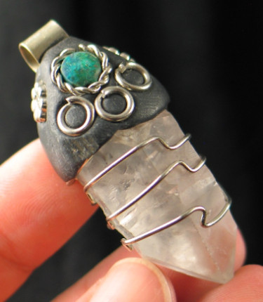 Unique Quartz Crystal Pendant w/Chrysocolla Accent :: Image is of piece for sale.