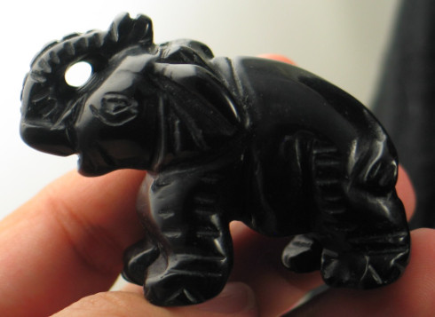 Carved Black Onyx Elephant :: Image is of piece for sale.