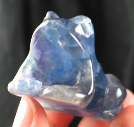 Blue & Purple Fluorite Frog Carving :: Image is of piece for sale.