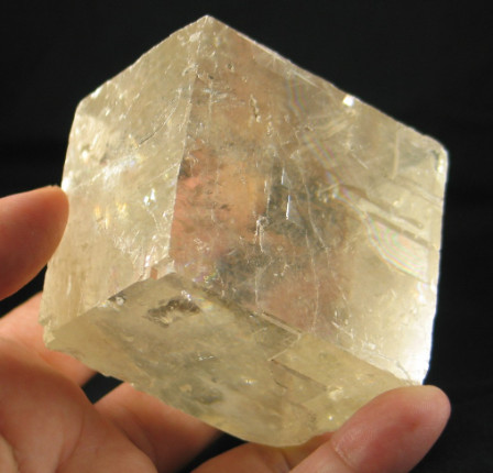 Optical Golden Calcite Rhomb