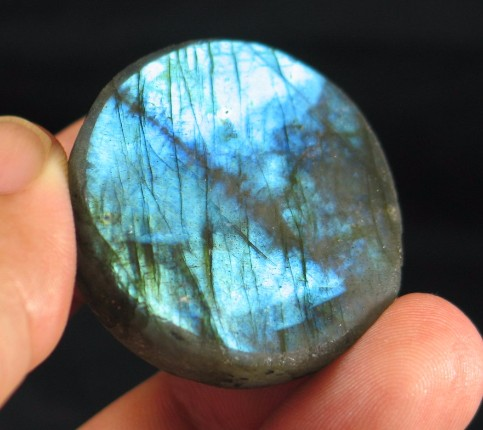 Blue Flash Polished Labradorite Button :: Image is of piece for sale.