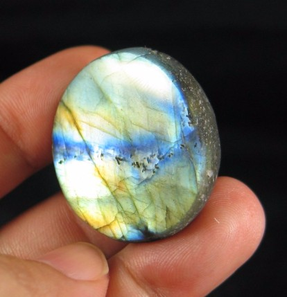 Adorable Golden Flash Labradorite Button :: Image is of piece for sale.