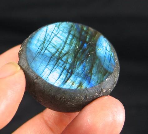 Brilliant Blue Labradorite Button :: Image is of piece for sale.