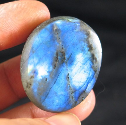 Rich Blue Labradorite Button :: Image is of piece for sale.