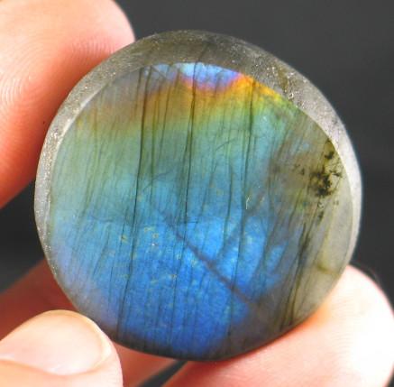 Brilliant Rainbow Labradorite Button :: Image is of piece for sale.
