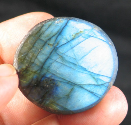 Bright Blue Labradorite Button :: Image is of piece for sale.
