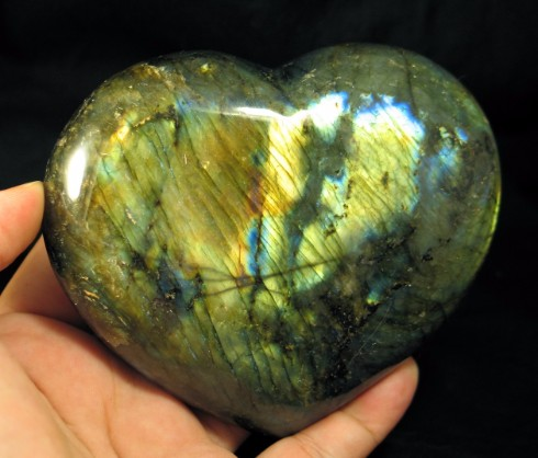 Large Golden Labradorite Heart :: Image is of piece for sale.