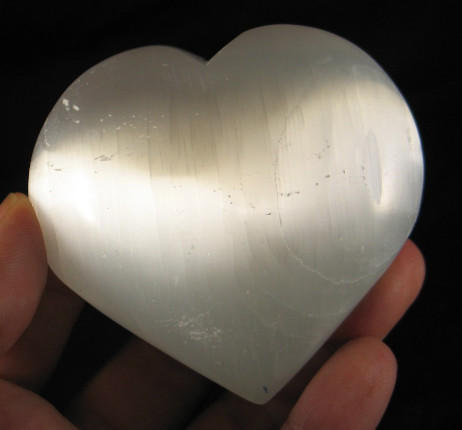 Palm Sized Selenite Heart :: Image is of piece for sale.